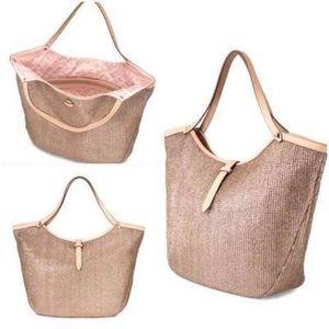 Stella & Dot Rose Gold Metallic Riviera Tote Bag